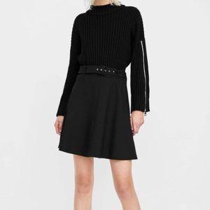 Zara women A-line skirt black belt knee length